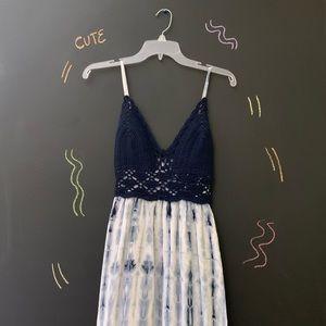 Navy Tie Dyed Maxi Dress